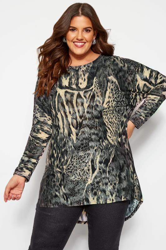 Plus Size Jersey Tops Grey Metallic Animal Print Dipped Hem Top