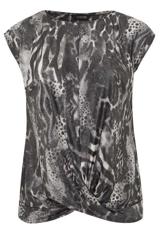 Grey Metallic Mixed Animal Print Top
