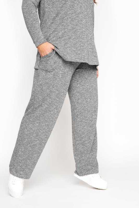 Grey Metallic Wide Leg Jogger