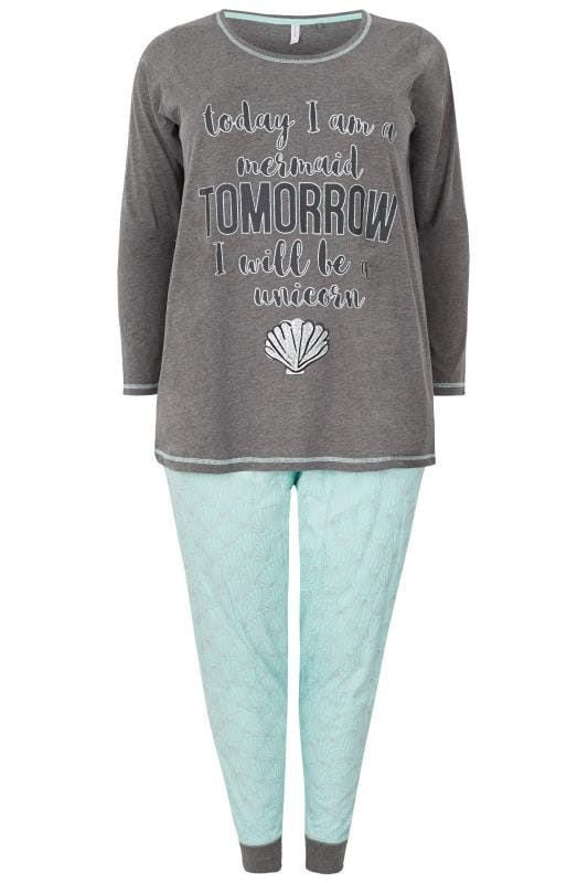 Grey & Mint Green 'Today, Tomorrow' Slogan Pyjama Set