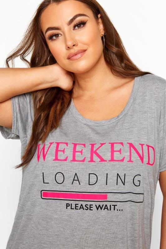 """Nachthemd mit """"Weekend Loading""""-Schriftzug - Grau/Rosa"""