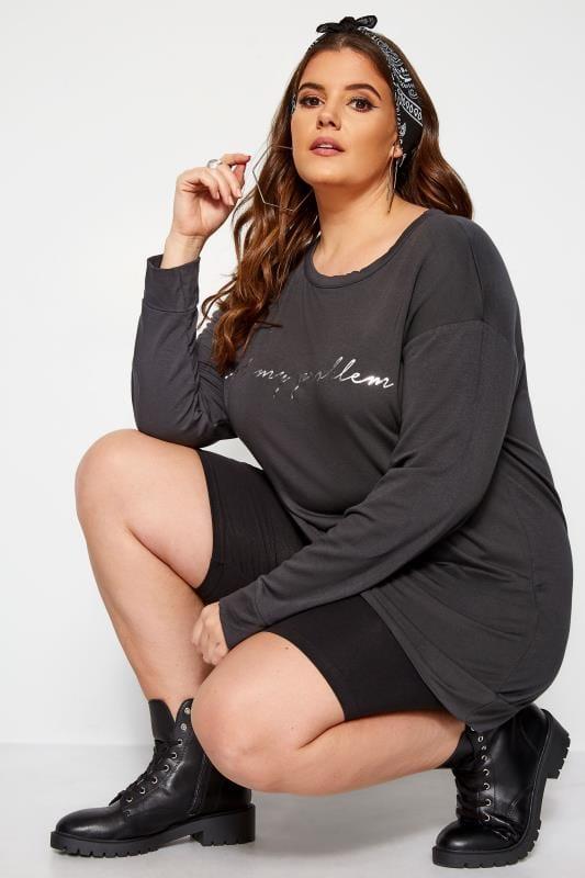 Grey 'Not My Problem' Foil Slogan Sweatshirt