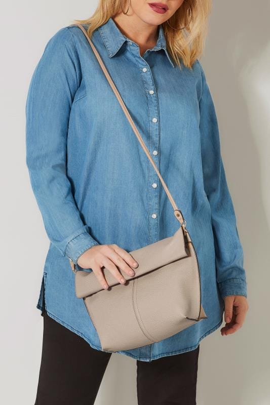 Bags & Purses Grey & Nude Reversible Roll Top Bag With Detachable Straps