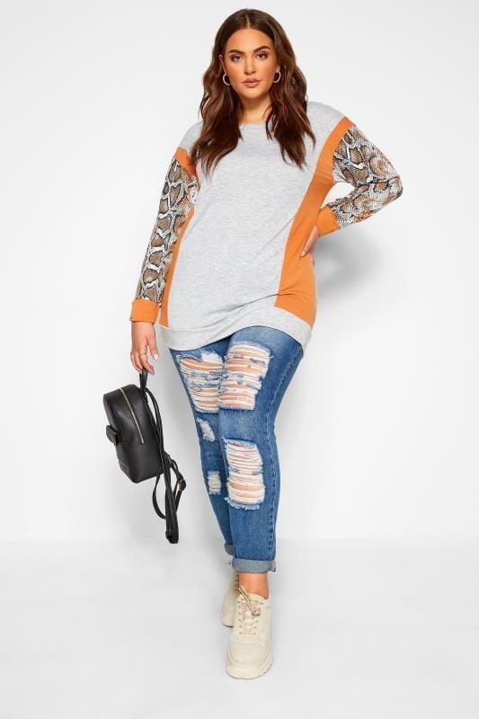 Plus Size Sweatshirts Grey & Orange Snake Print Trim Sweatshirt