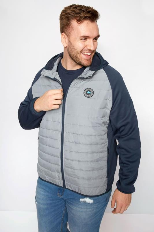 Plus Size Jackets BadRhino Grey Padded Sports Jacket