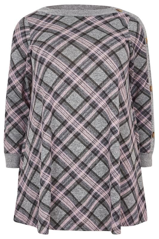 Grey & Pink Check Button Tunic