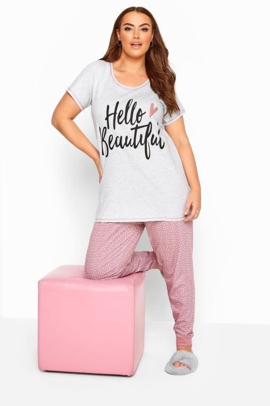 Plus Size Pyjamas Grey & Pink 'Hello Beautiful' Pyjama Set