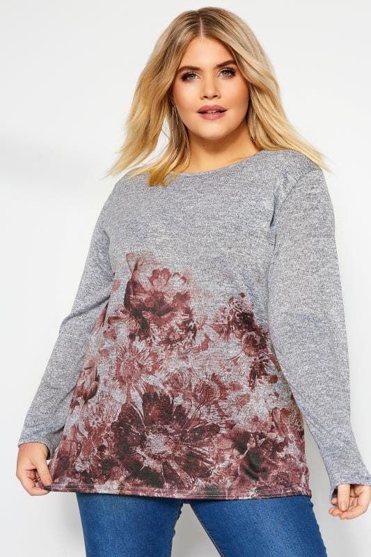 Plus Size Knitted Tops & Jumpers Grey & Pink Marl Floral Knitted Top