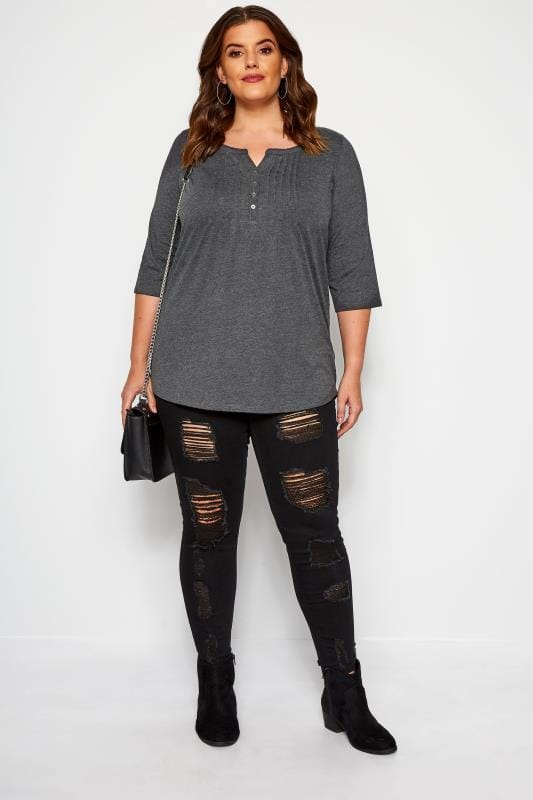Grey Pintuck Jersey Top