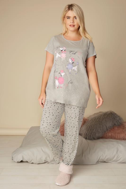 Graues Pyjamaoberteil mit Pudelprint