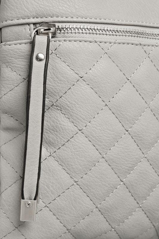 Grey Quilted Square Cross Body Bag