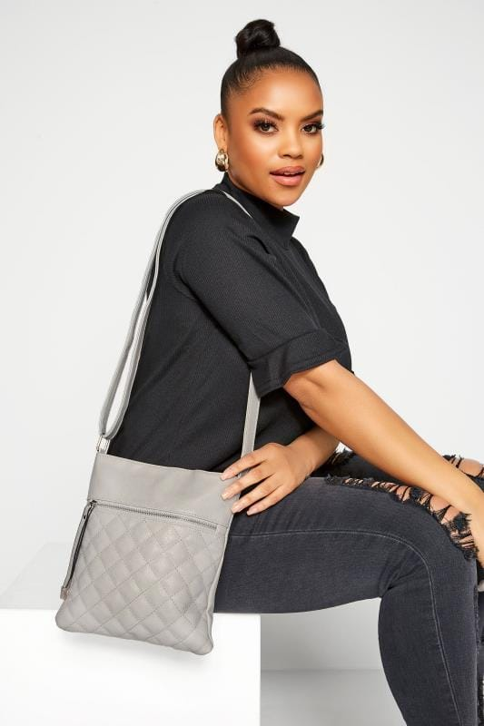 Cross Body Bags Grey Quilted Square Cross Body Bag