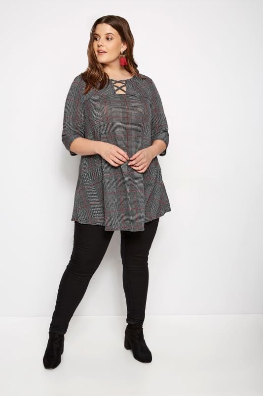 Grey & Red Check Top