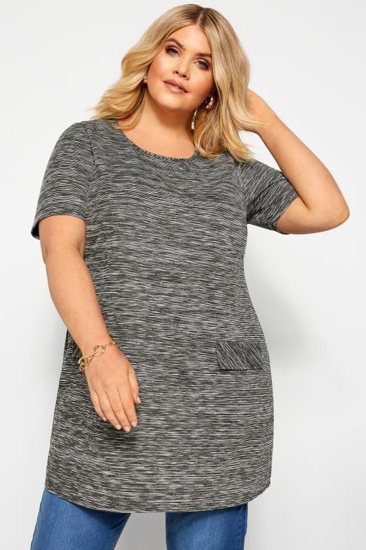 Plus Size Tunics Grey Ribbed Stripe Mock Pocket Tunic