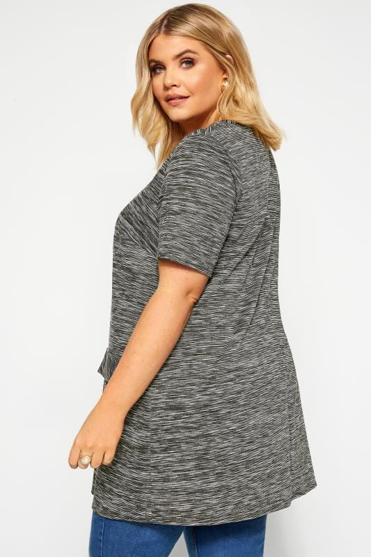 Grey Ribbed Stripe Mock Pocket Tunic