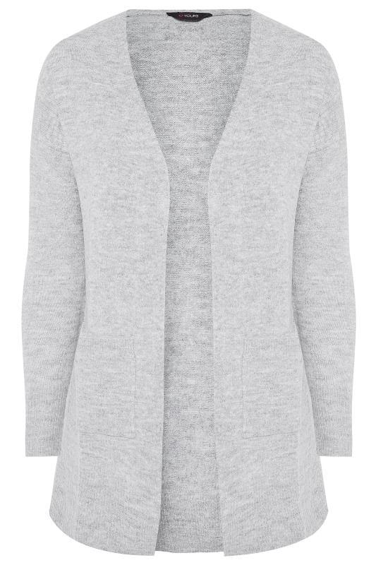Grey Ribbed Trim Pocket Cardigan