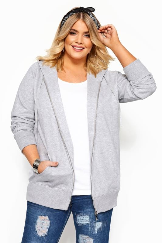 Plus Size Hoodies & Jackets Grey Ribbed Zip Through Hoodie