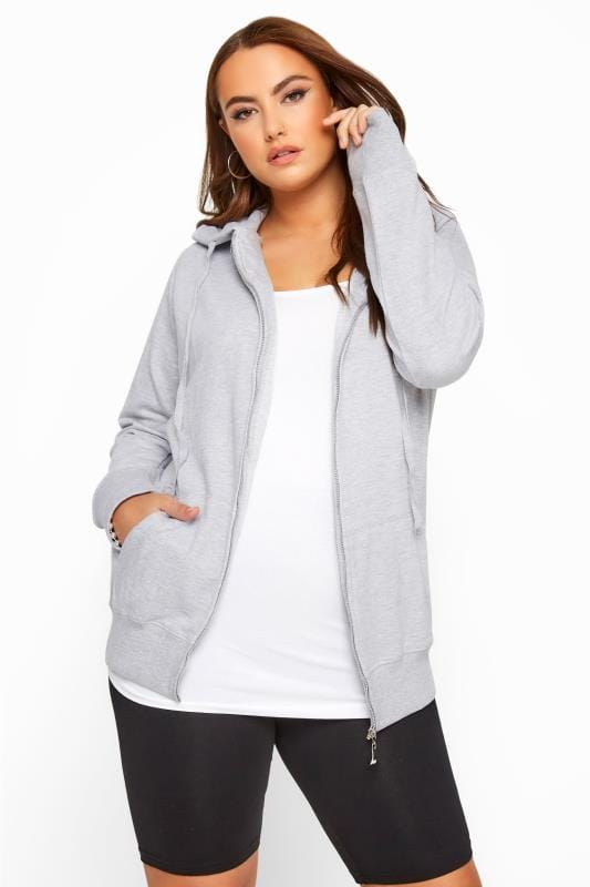 Hoodies & Jackets Tallas Grandes Grey Ribbed Zip Through Hoodie