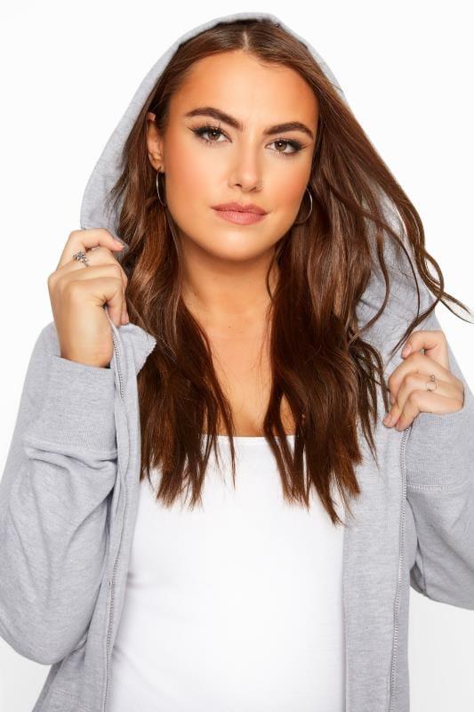 Hoodie mit durchgehendem Reißverschluss - Grau