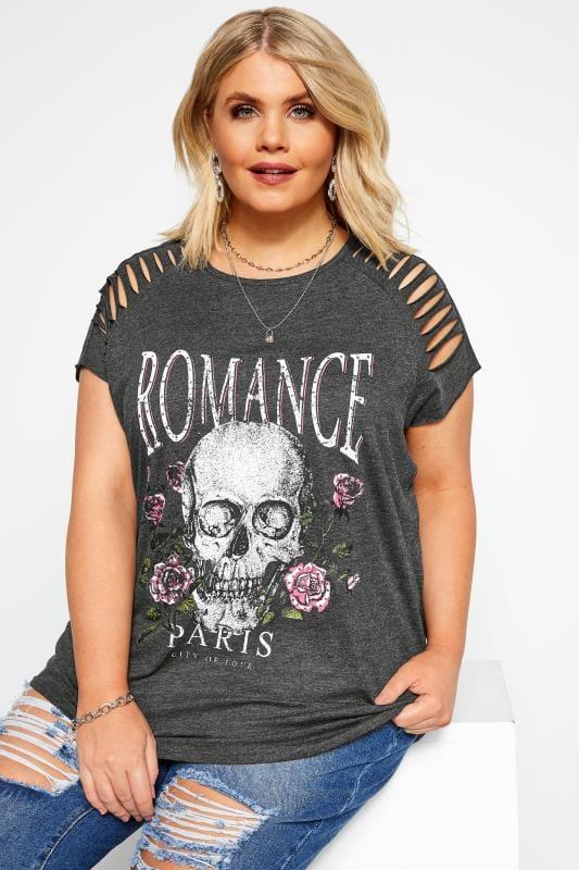 """Tops Cómodos Tallas Grandes Camiseta gris """"Romance"""""""