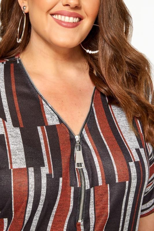 Grey & Rust Abstract Stripe Zip Neck Top