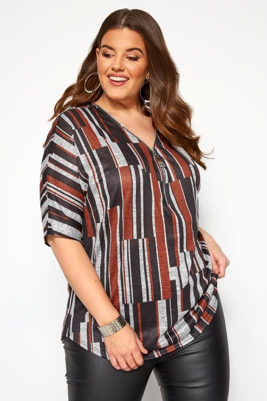 Plus Size Day Tops Grey & Rust Abstract Stripe Zip Neck Top