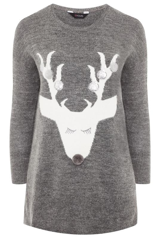 Plus Size Jumpers Grey Sequin Bauble Deer Christmas Jumper