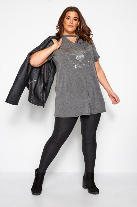 Grey & Silver Choker Rock Slogan T-Shirt