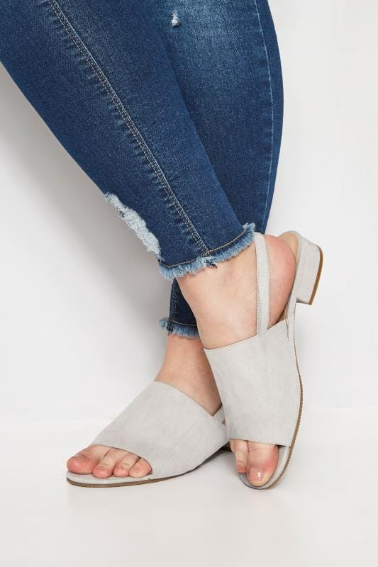 Plus Size Sandals Grey Slingback Sandals In Extra Wide Fit