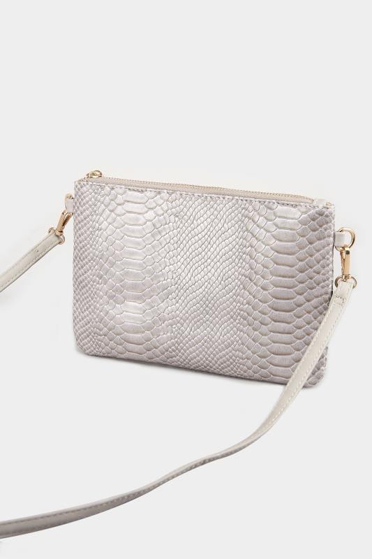 Crossbody Tasche in Schlangenoptik - Grau