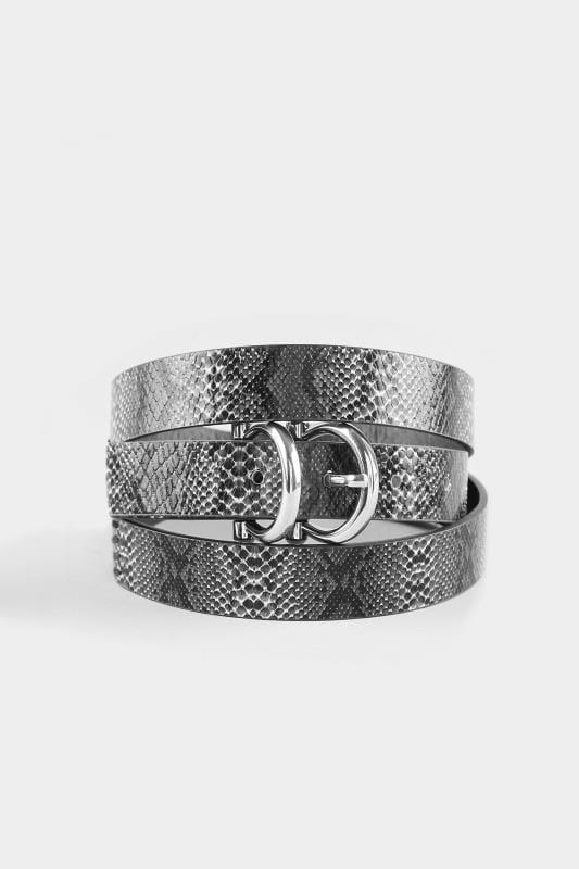Grey Snake Effect Double Buckle Belt