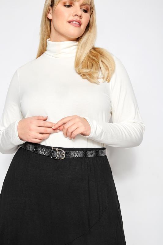 Plus Size Belts Grey Snake Effect Double Buckle Belt