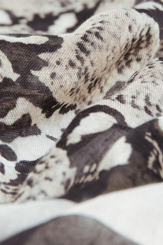 Grey Snake Print Border Scarf