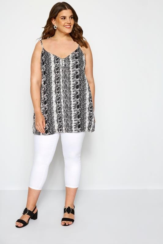 Grey Snake Print Button Cami
