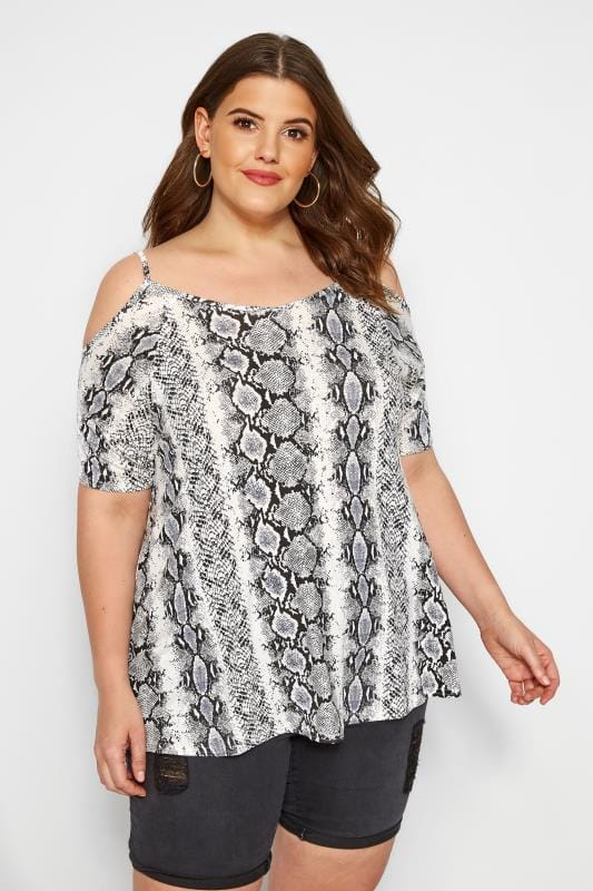 Plus Size Bardot & Cold Shoulder Tops Grey Snake Print Cold Shoulder Top