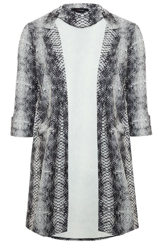Grey Snake Print Duster Jacket