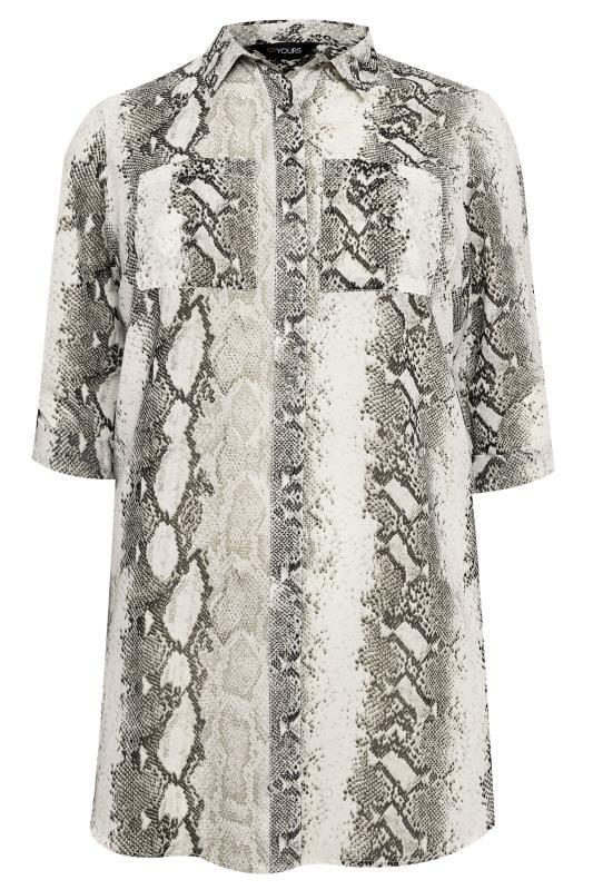 Grey Snake Print Longline Shirt
