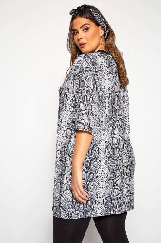 Grey Snake Print Tunic T-Shirt