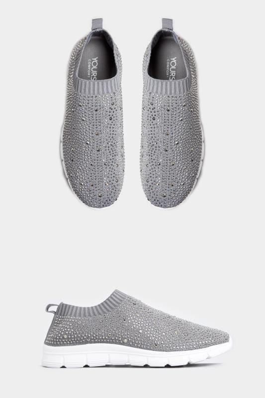 Yours Grey Sock Style Diamante Trainers In Extra Wide Fit