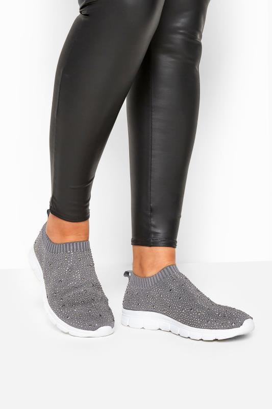 Wide Fit Trainers Grey Sock Style Diamante Trainers In Extra Wide Fit