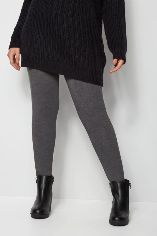 Plus Size Basic Leggings Grey Soft Touch Leggings