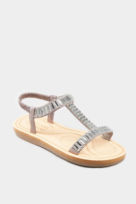 Grey Sparkle H-Band Sandals In Extra Wide Fit