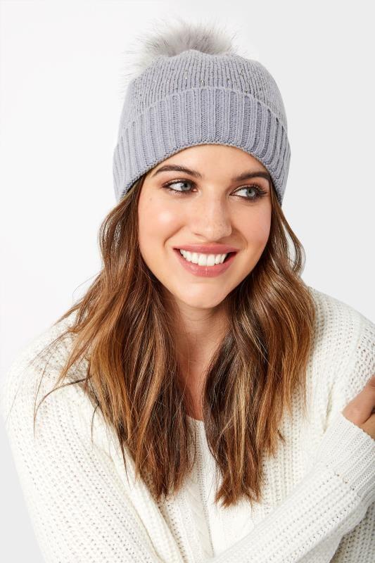 Plus-Größen Hats Grey Sparkle Pom Pom Hat