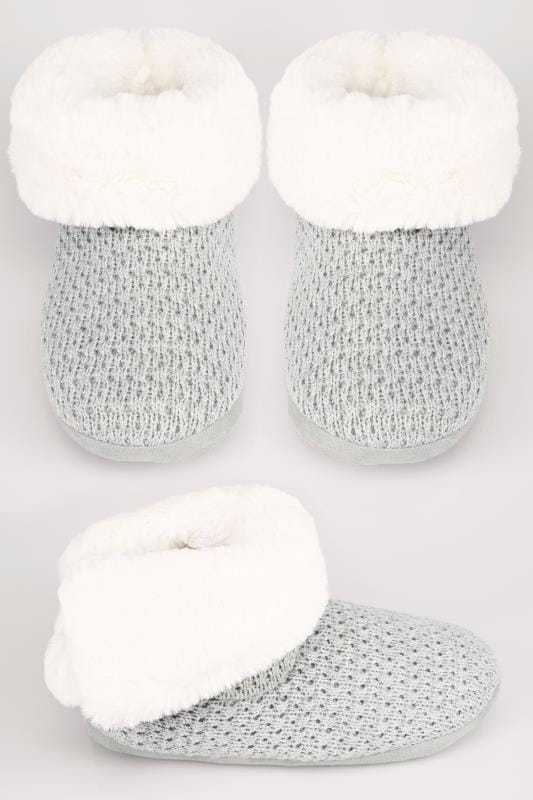 Wide Fit Slippers Grey Knitted Slipper Boot With Faux Fur Lining