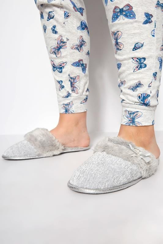 Grey Sparkle Knitted Slipper With Faux Fur Cuff