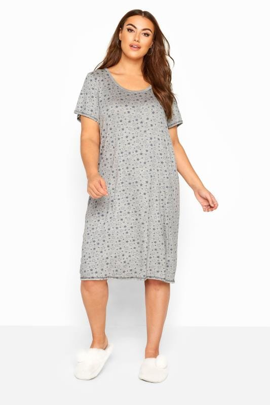 Plus-Größen Nightdresses & Chemises Grey Star Print Nightdress