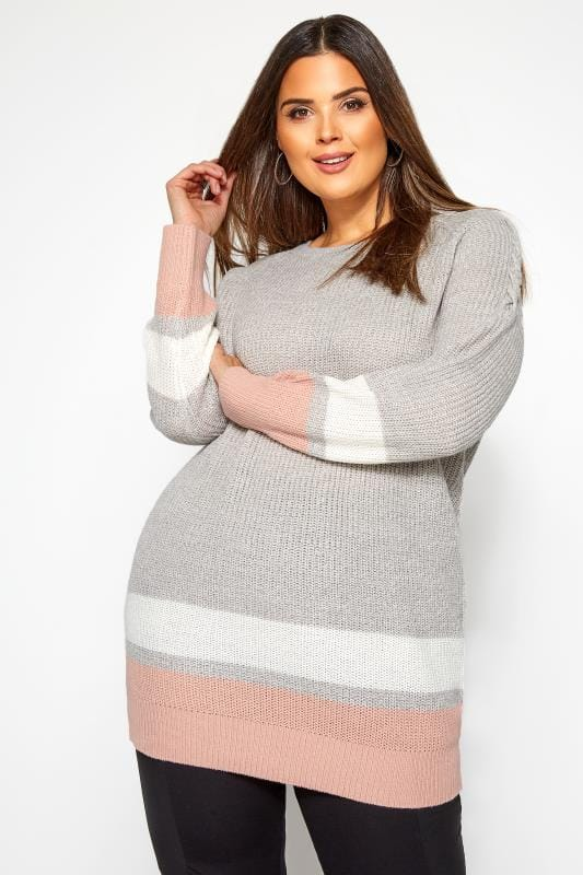 Plus Size Jumpers Grey Stripe Trims Knitted Jumper
