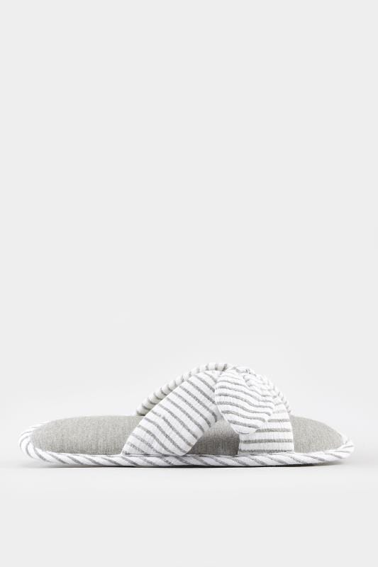 Grey Striped Bow Slippers In Wide Fit