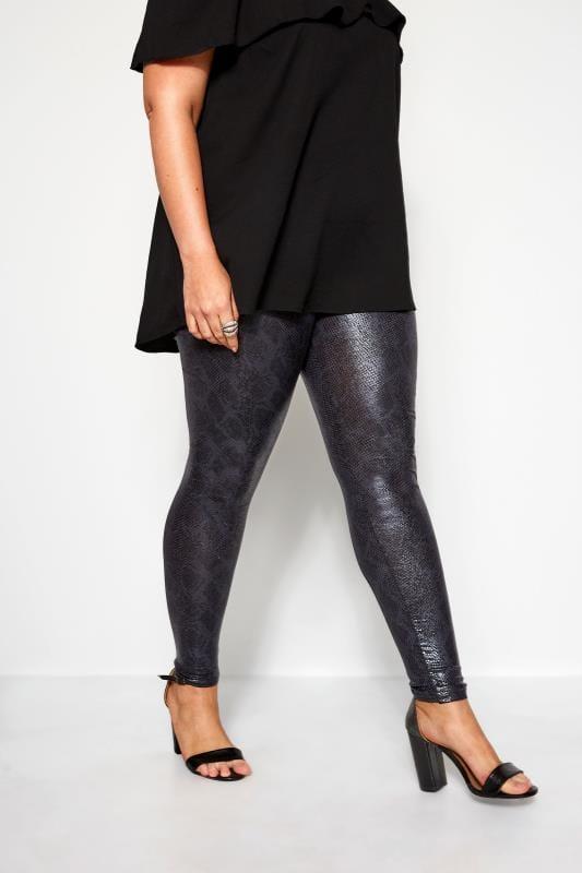 moderne leggings Grey Textured Coated Snake Print Leggings