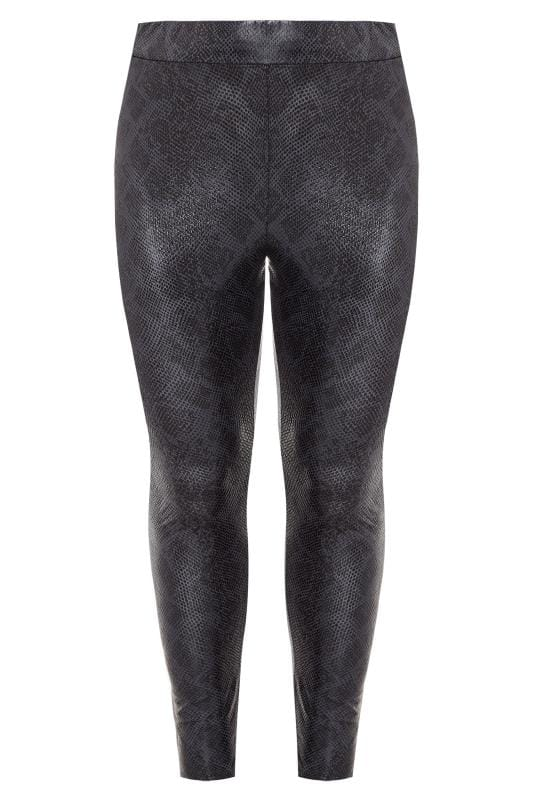 Plus Size Fashion Leggings Grey Textured Coated Snake Print Leggings